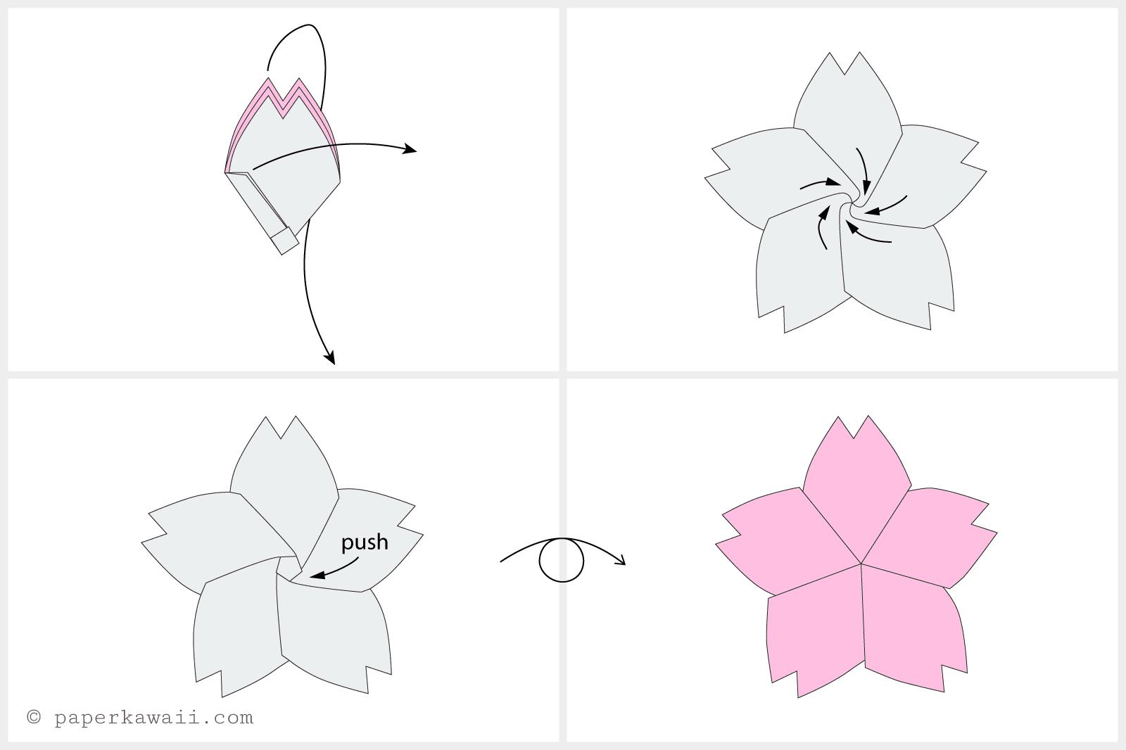 Origami Cherry Blossom Tutorial 04