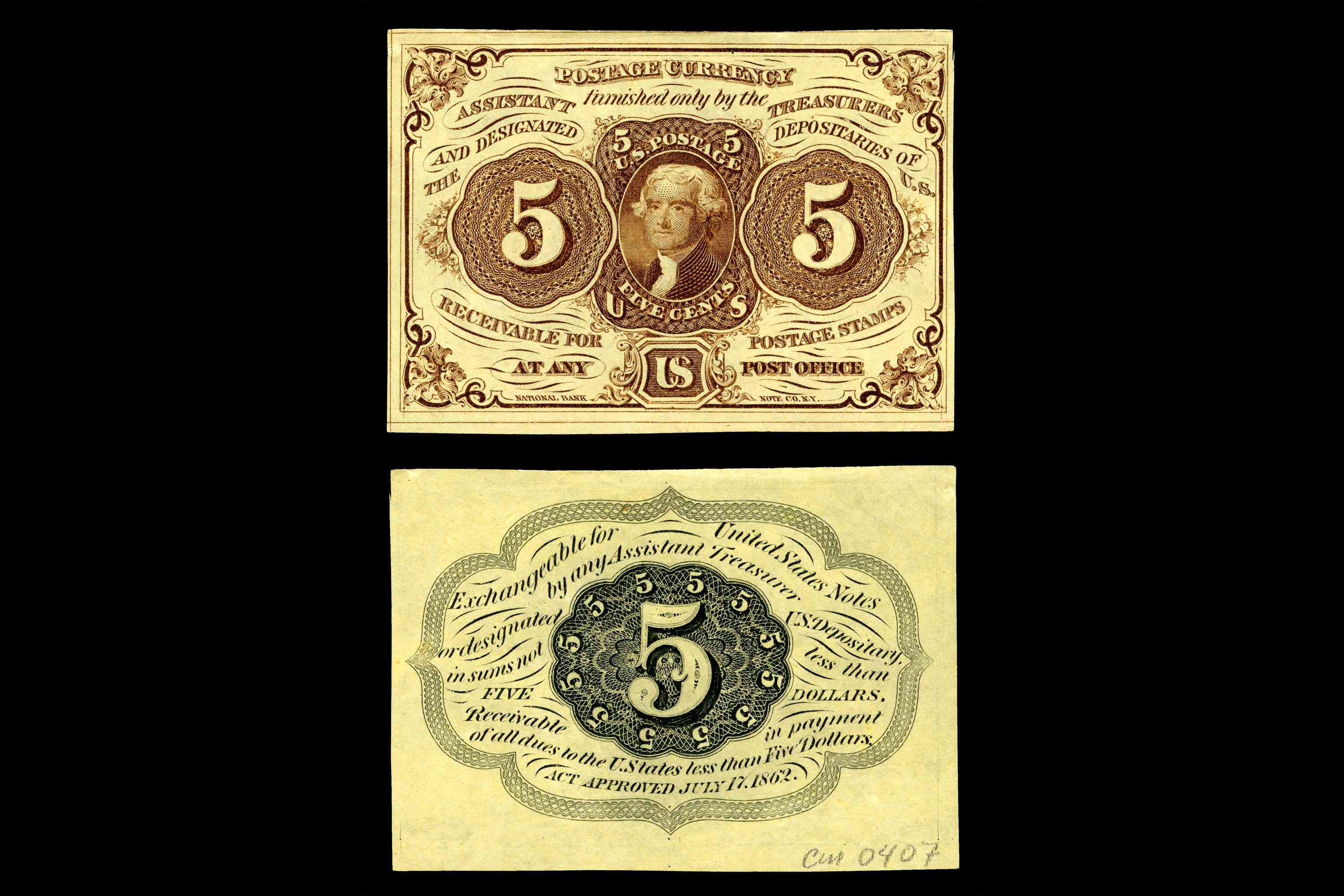 United States fractional currency first issue five cent note