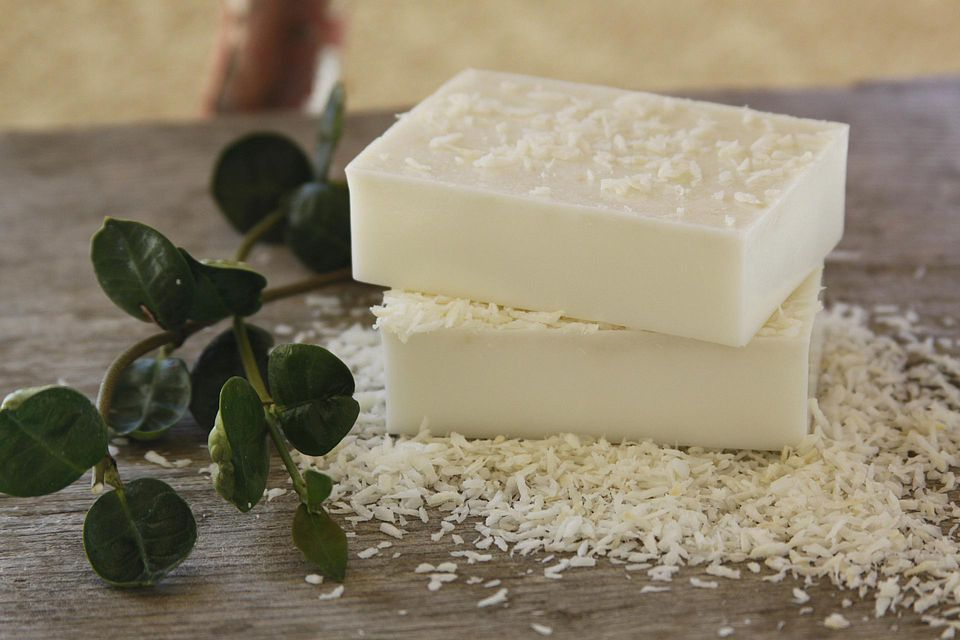 Homemade coconut, goat's milk white bar soap with a jasmine fragrance