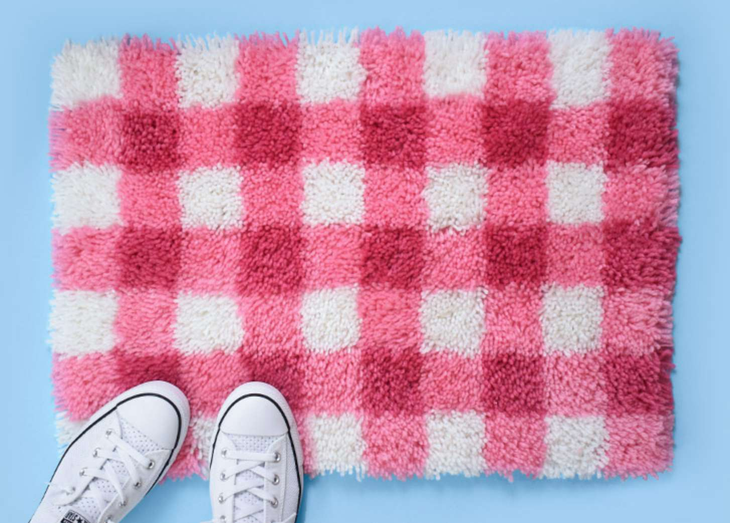 Gingham Latch Hook Rug by Dream a Little Bigger