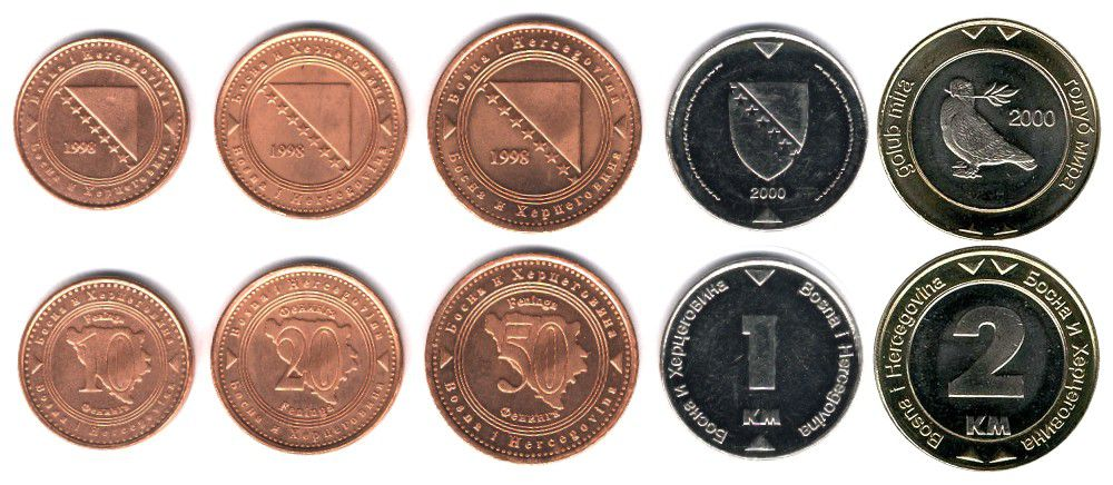 These coins are currently circulating in Bosnia as money.