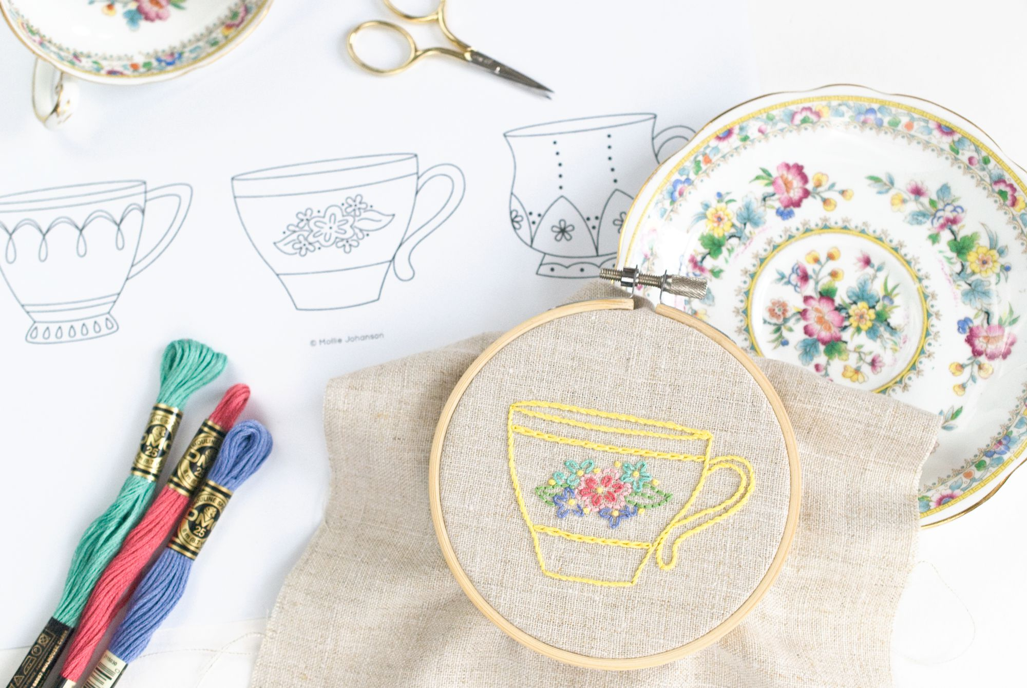 Teacup Trio Embroidery Pattern
