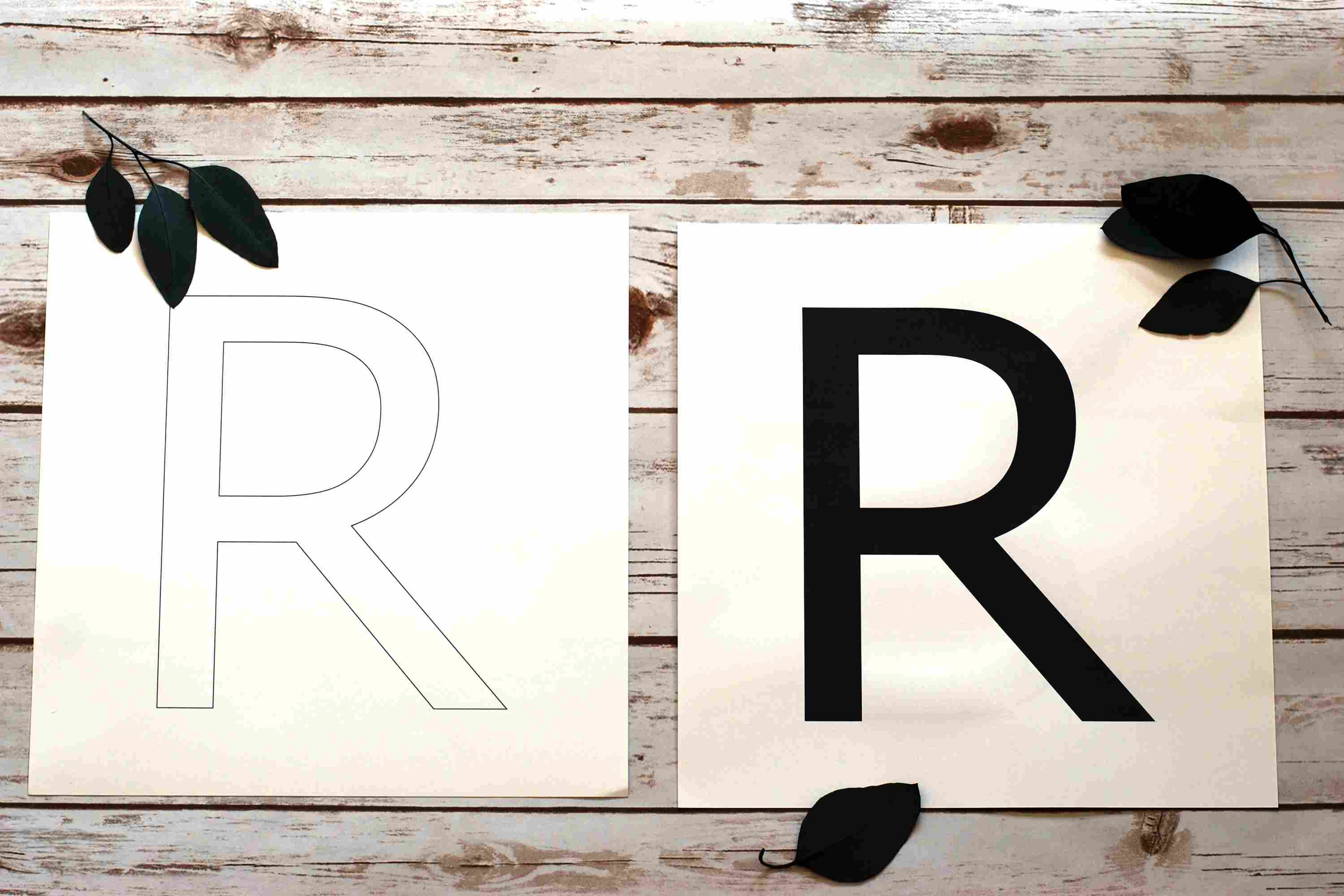 printed letter R