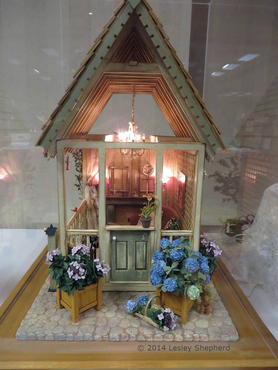 End view of a shabby chic garden shed in 1:12 scale by Janet M. Oliver