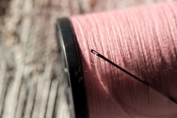 Needle And Thread In Spool Of Thread