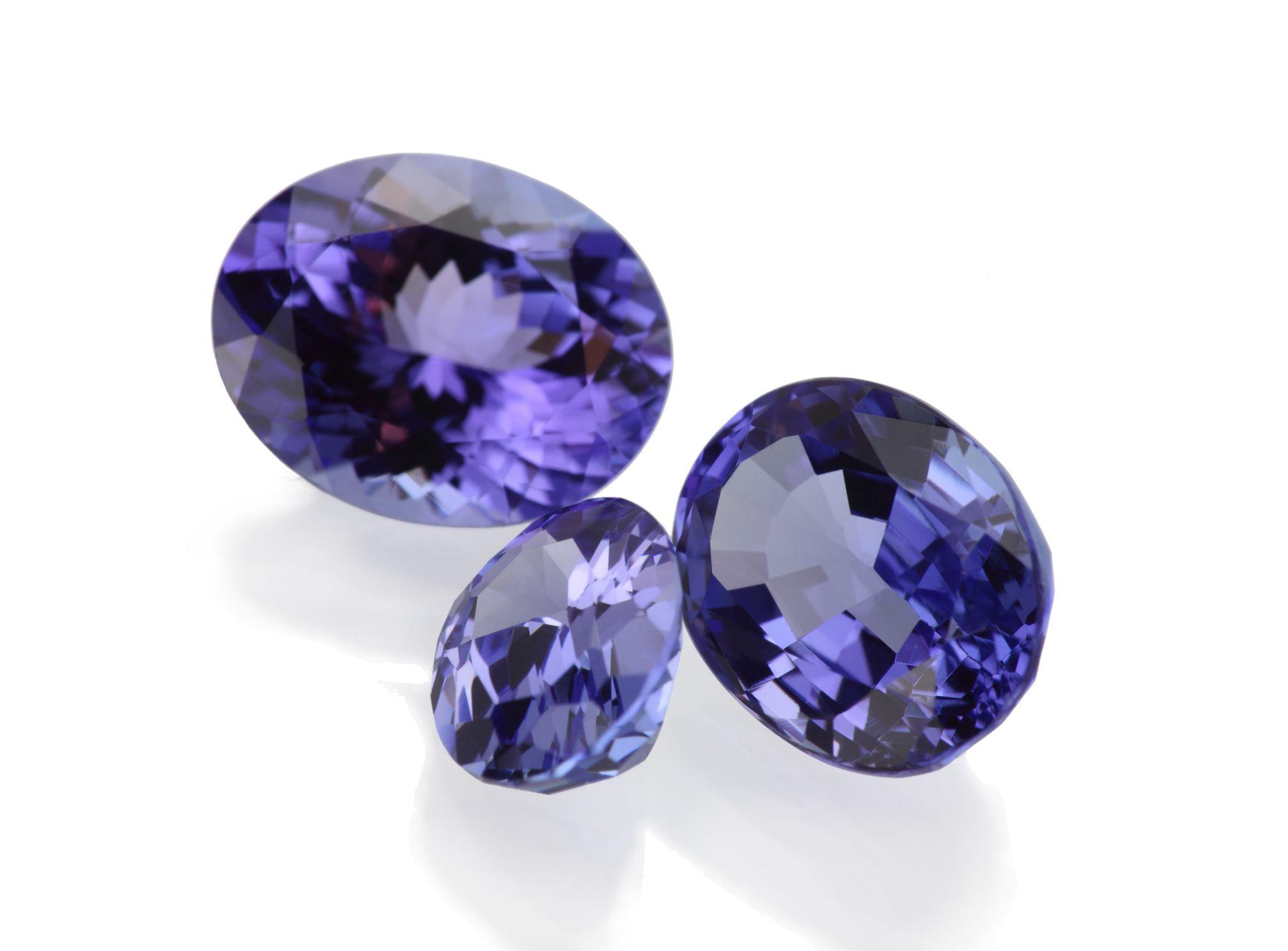 three tanzanite gems