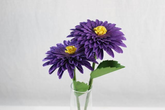 purple diy paper dahlias
