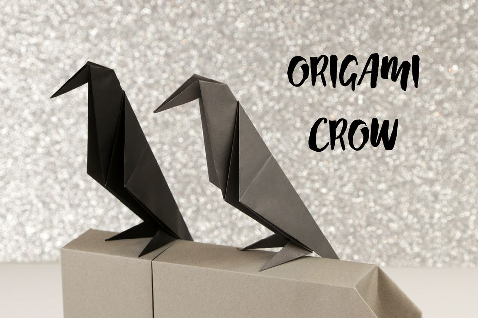 Make an Origami Crow for Halloween! Halloween Origami Diagram on