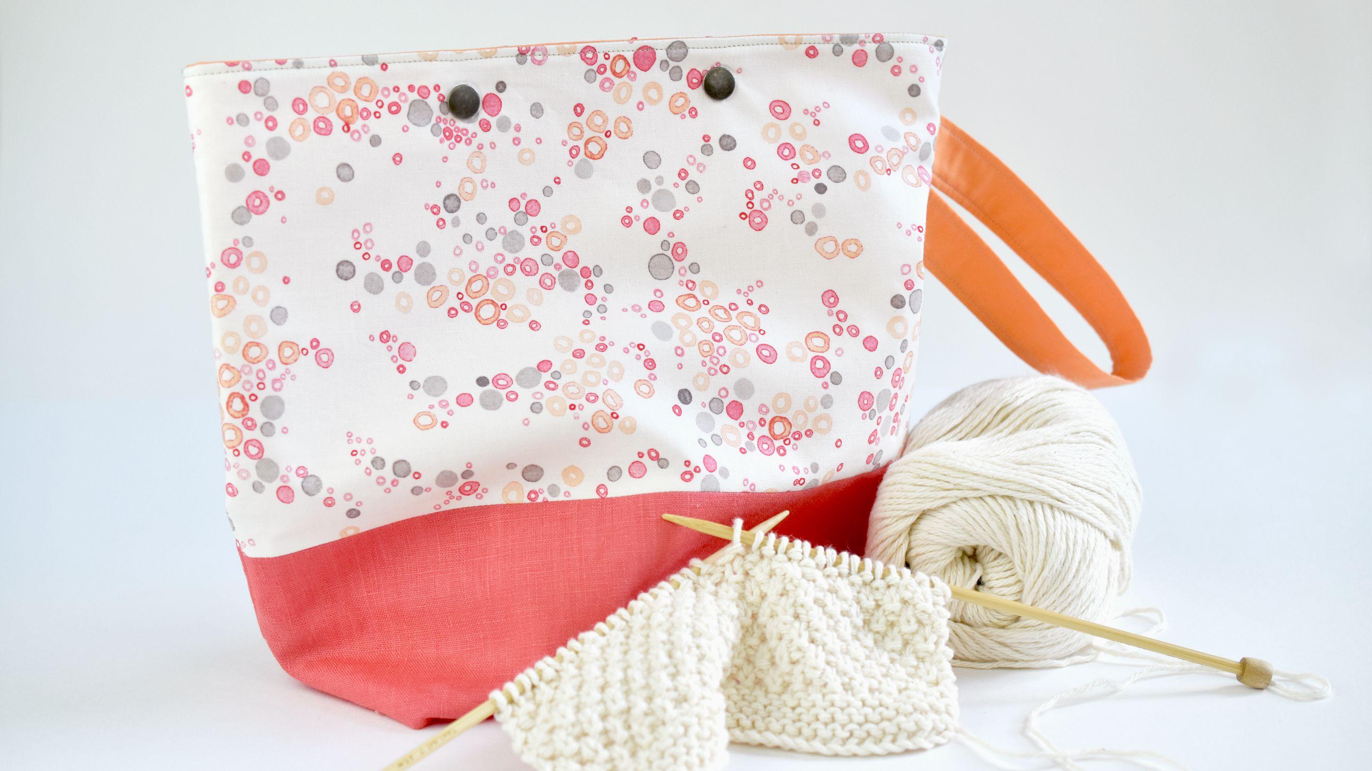small knitting bag knitting bag for gift Reversible project bag small project bag crochet project bag,gift bag,tote bag