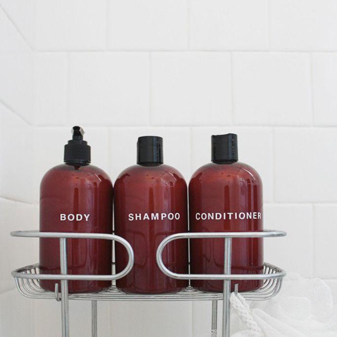 DIY Bathroom decor ideas shampoo bottles in holder