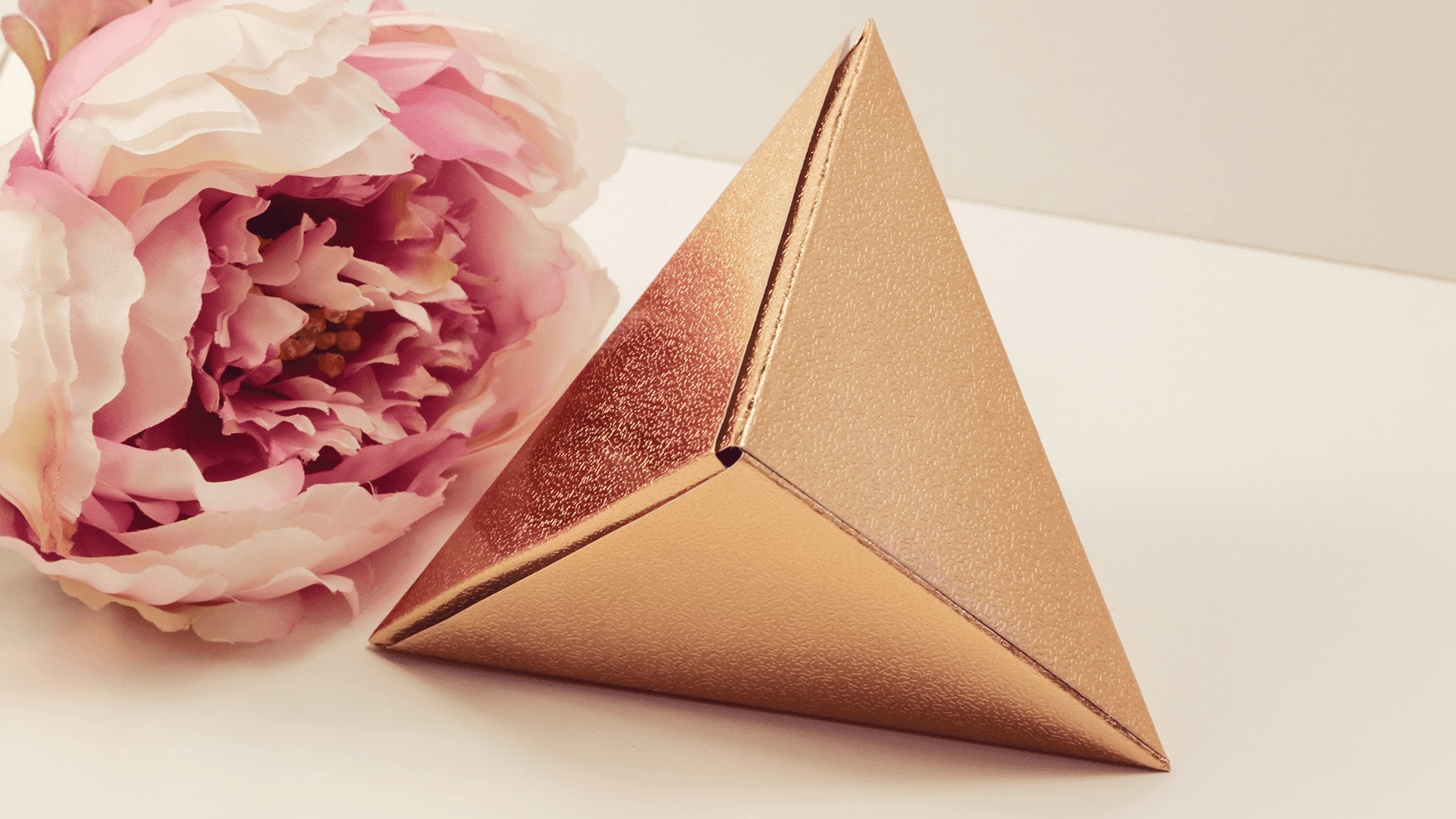 Gold origami fox box with pink peony.