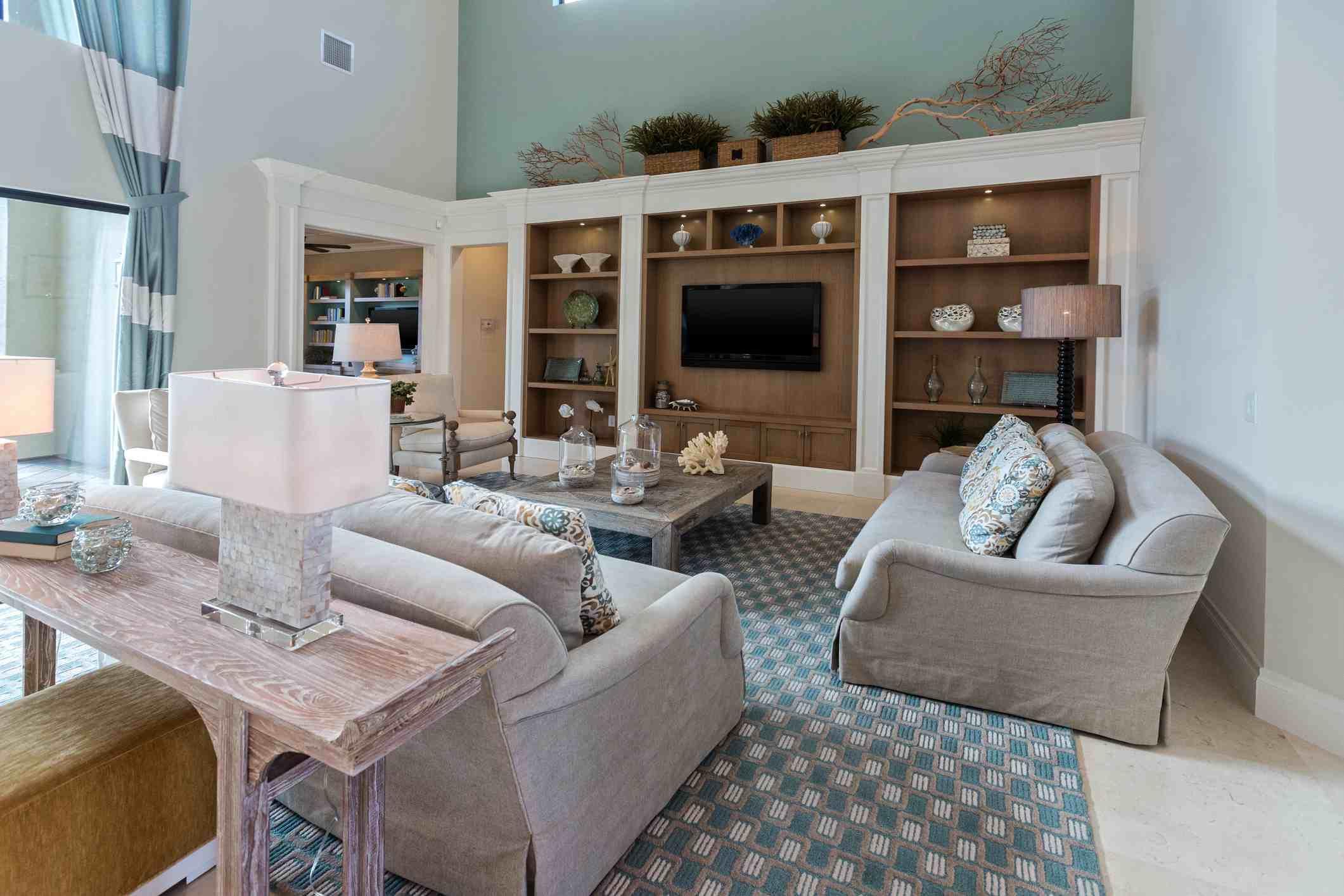 Modern blue colored living room