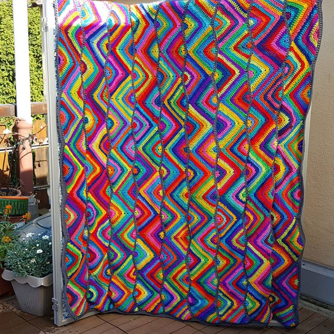 Zig Zag Crochet Scrap Yarn Blanket