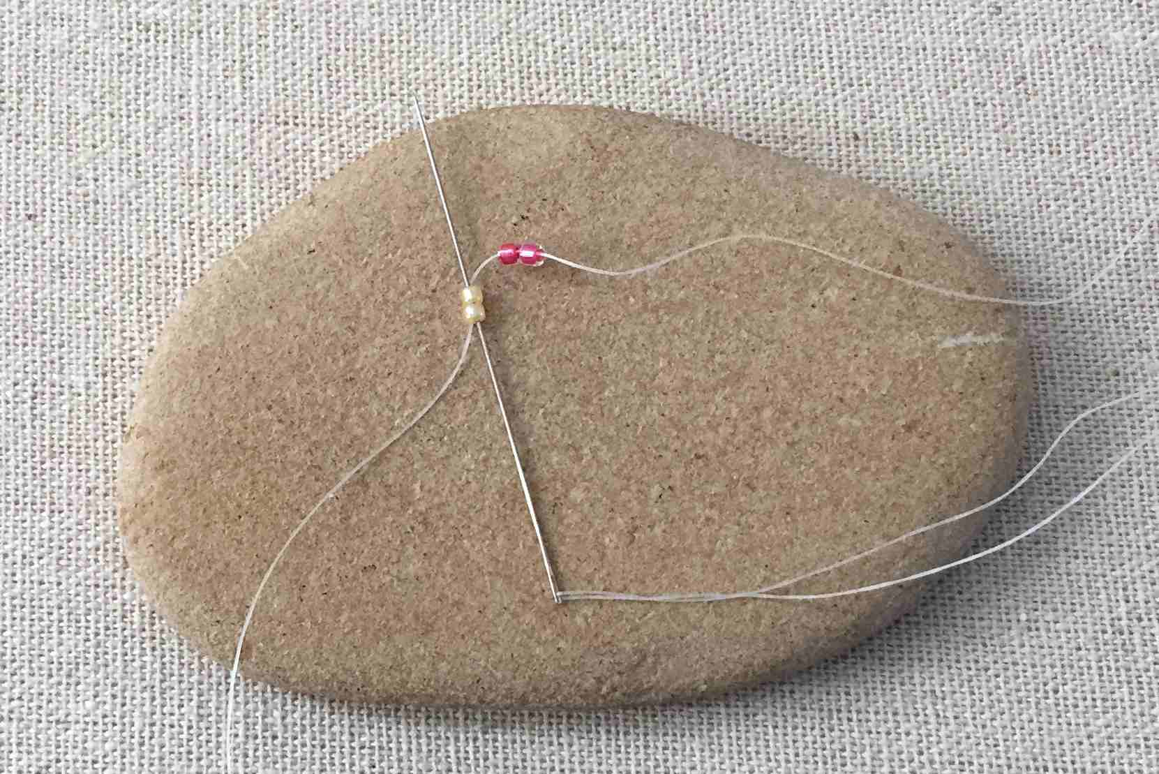 For 2 Bead Ladder Stitch, Pick up 2 Beads Per Stitch Instead of One