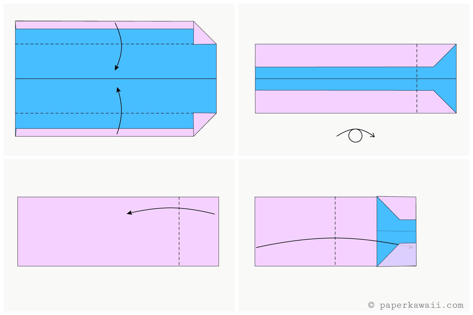 easy origami wallet diagram 4