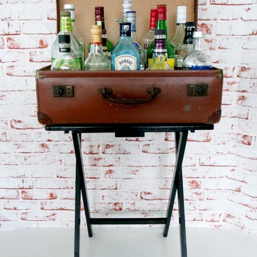 DIY Suitcase Bar Cart