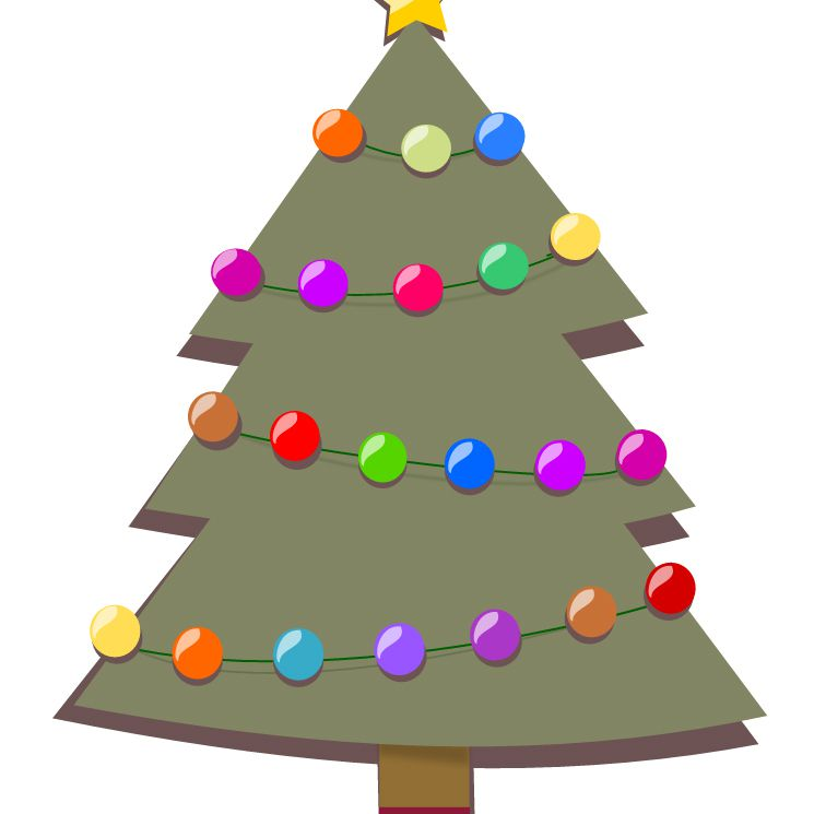 free christmas tree clip art at openclipart a christmas tree with strings of lights