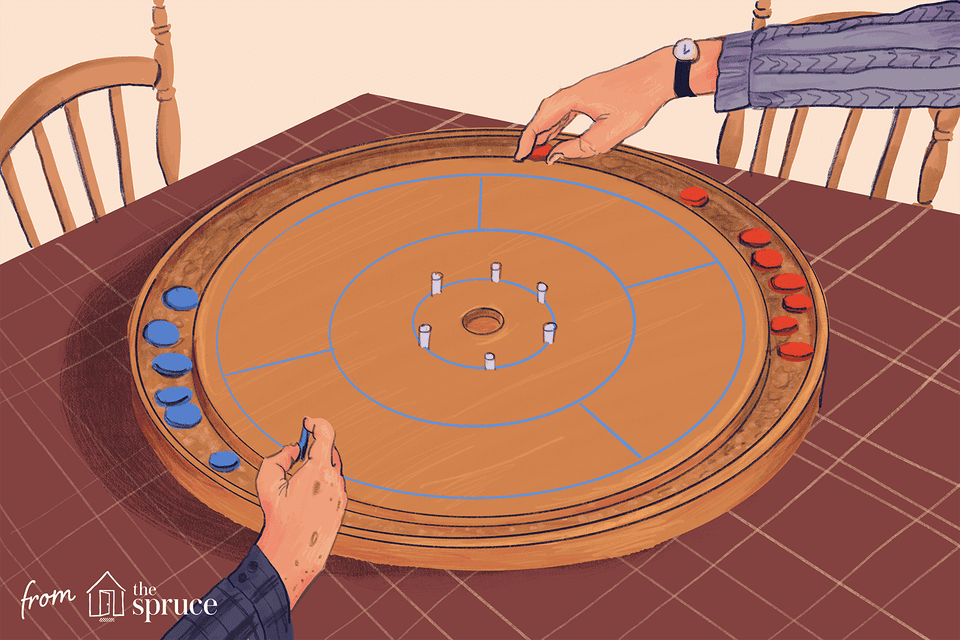 Illustration of two hands playing Crokinole
