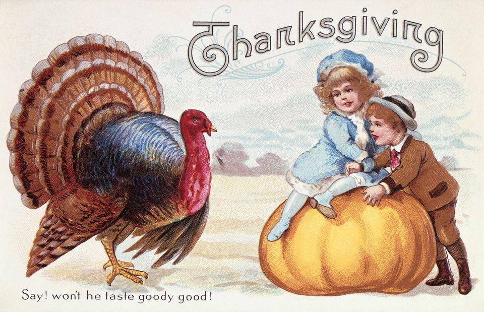 A vintage Thanksgiving clip art image