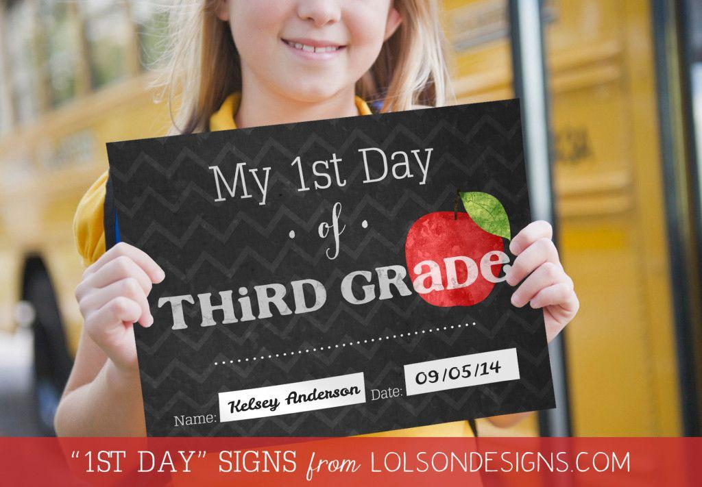 A first day of third grade sign.