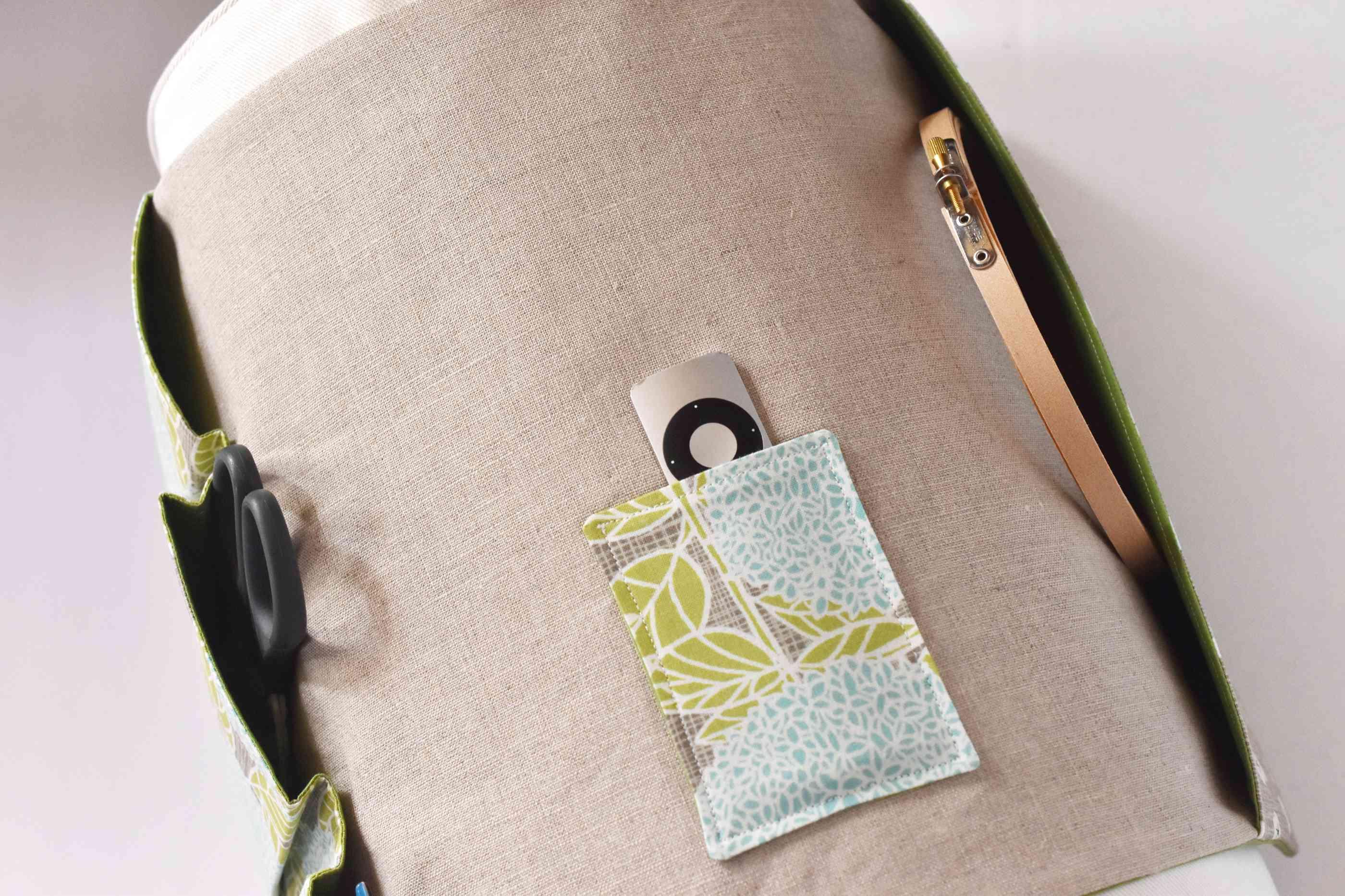 Top Pocket of a DIY Armchair Caddy