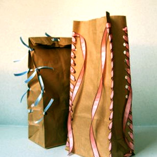 paper bags decorated with ribbon