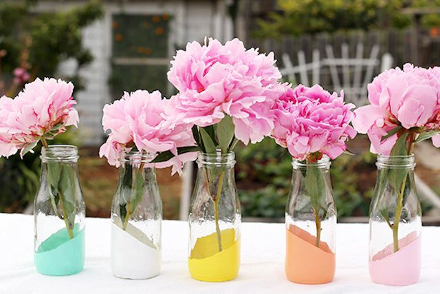 vases with fresh blooms