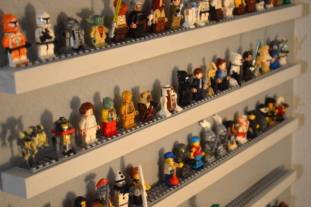 LEGO minifigures on shelves