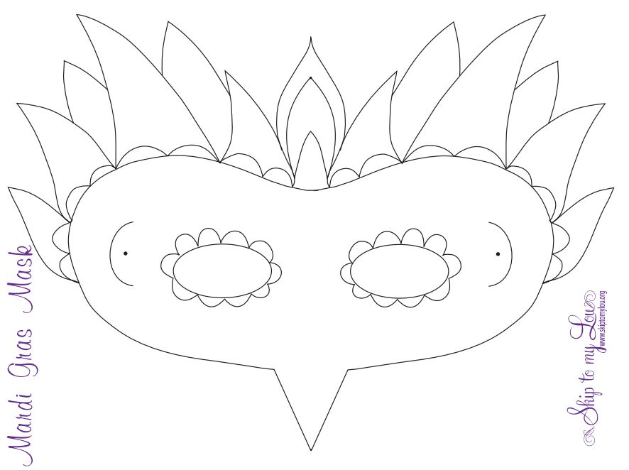 A Mardi Gras Mask Template With Nose Eyes And Hair