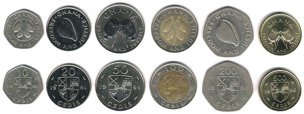 These coins are currently circulating in Ghana as money.