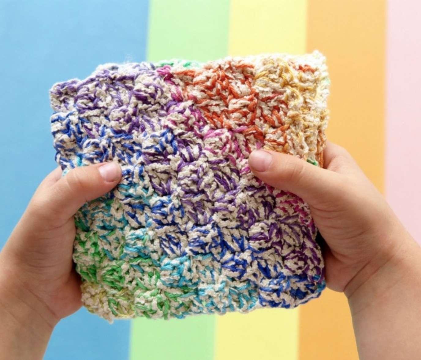 Rainbow Crochet Washcloth