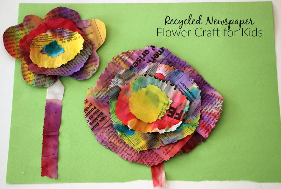Recycled Newspaper Flower Craft Project
