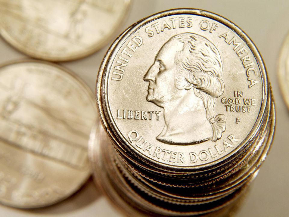 Close-up of a stack of American coins