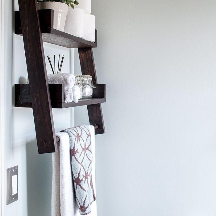 DIY bathroom decor projects - ladder shelf