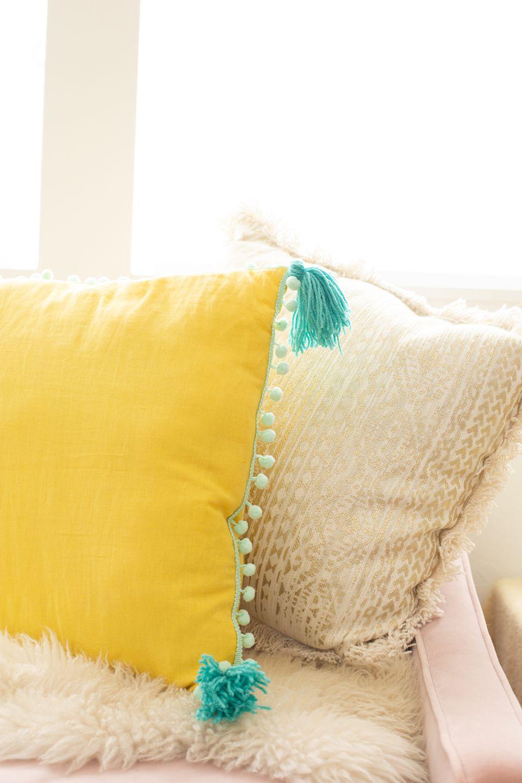 DIY tassel and pom pom trim pillow