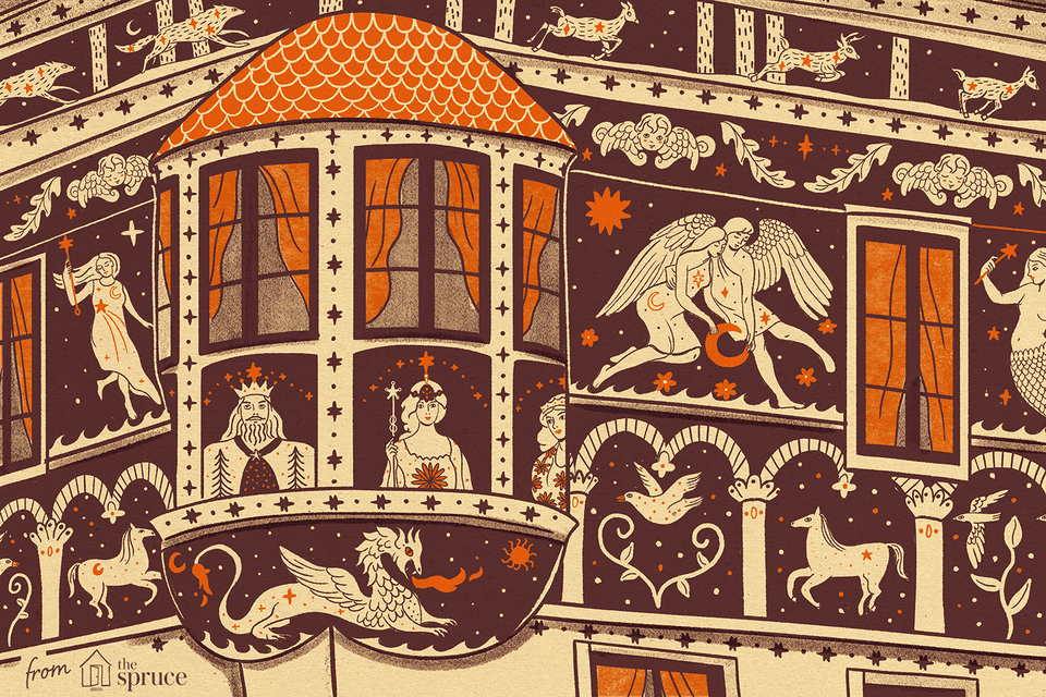 Illustration of Sgraffito art on a building