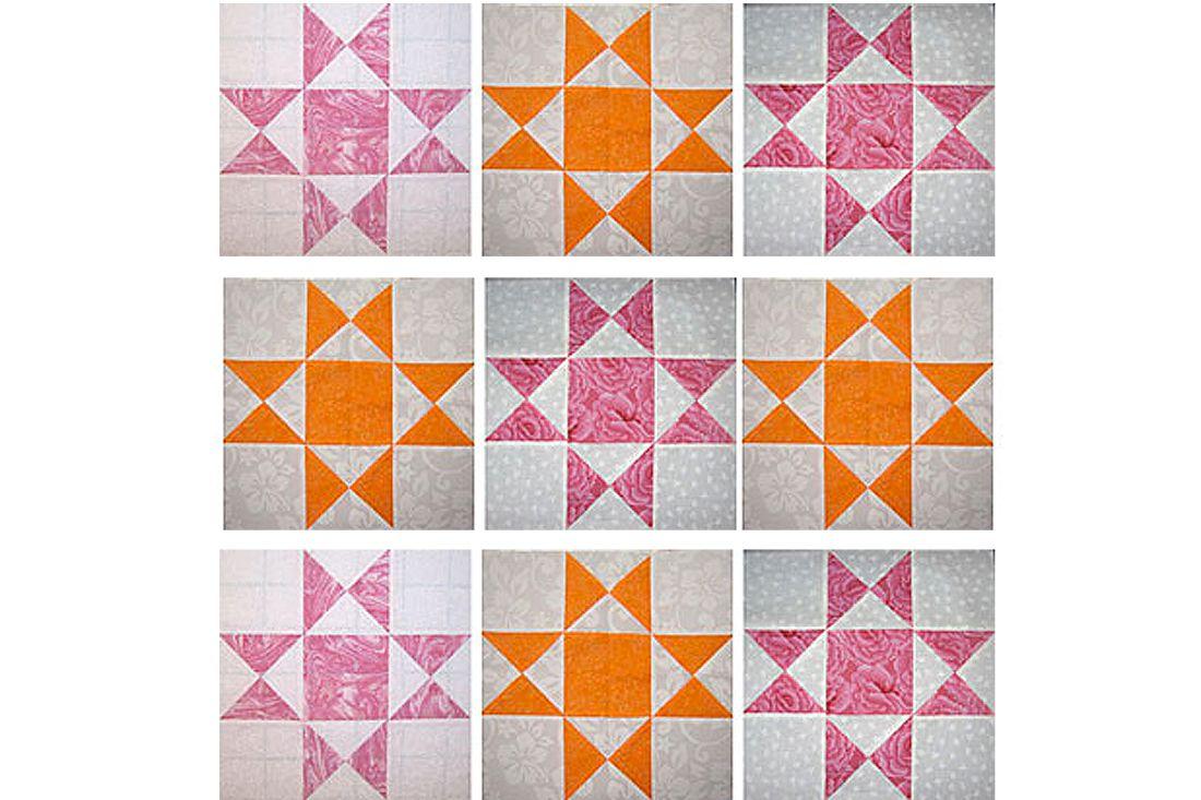 Nine Ohio Star quilt blocks in orange and maroon.