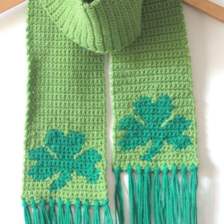 Single Crochet Shamrock Scarf Free Pattern