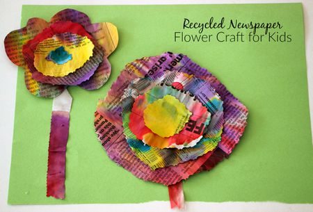 Recycled newspaper flower craft for kids recycled newspaper flower craft mightylinksfo
