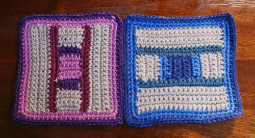 Crocheted Afghan Squares to Be Whip Stitched