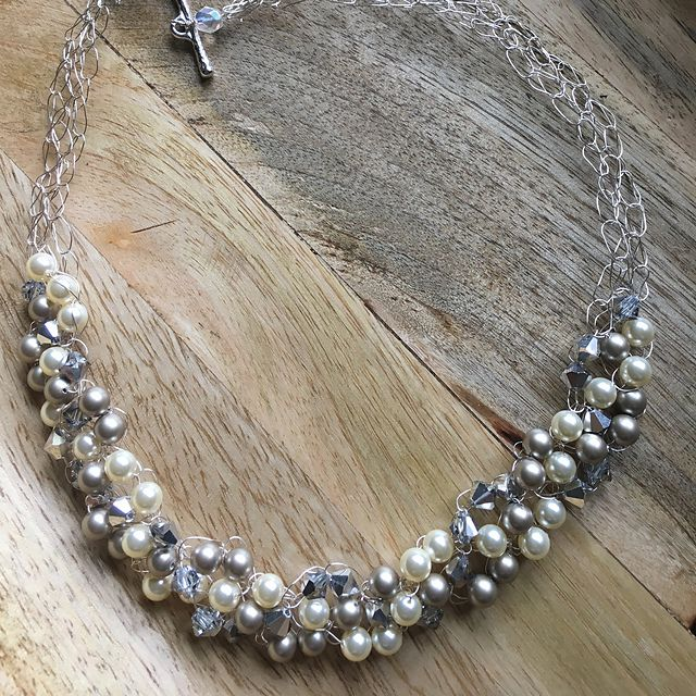Wire and Bead Crochet Necklace