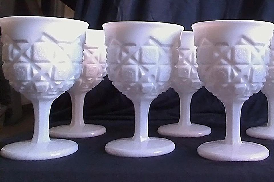 "Westmoreland Glass Company milk glass goblets in ""Old Quilt"" pattern"