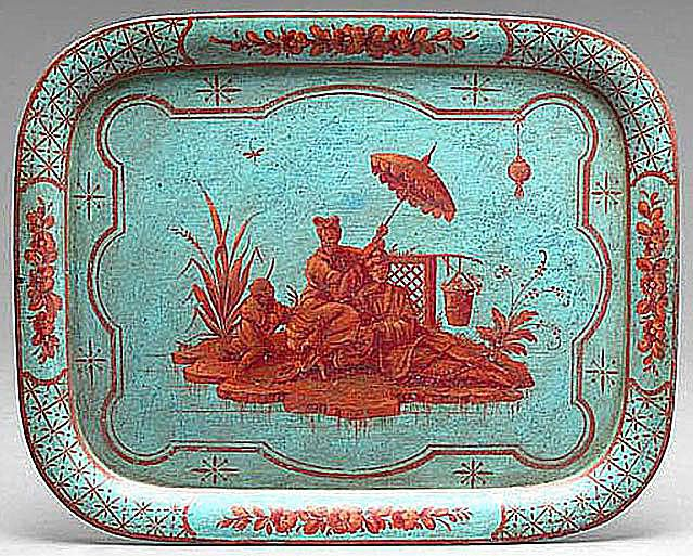 Terra cotta and blue-colored tôle peinte tray, French, ca. 1825-50