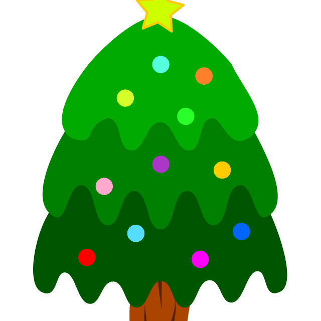 A decorated Christmas tree in various shades of green
