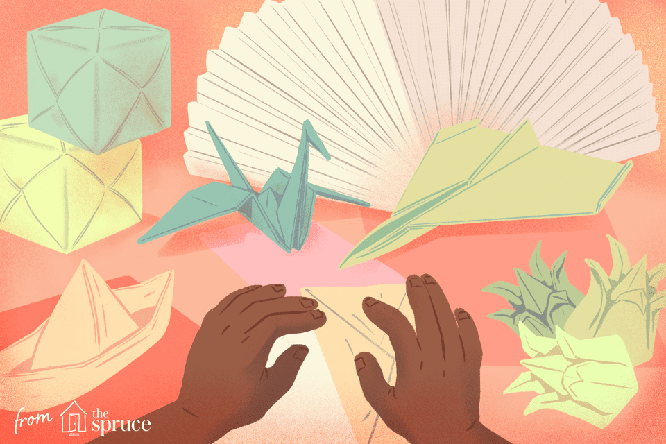 Illustration of hands making origami