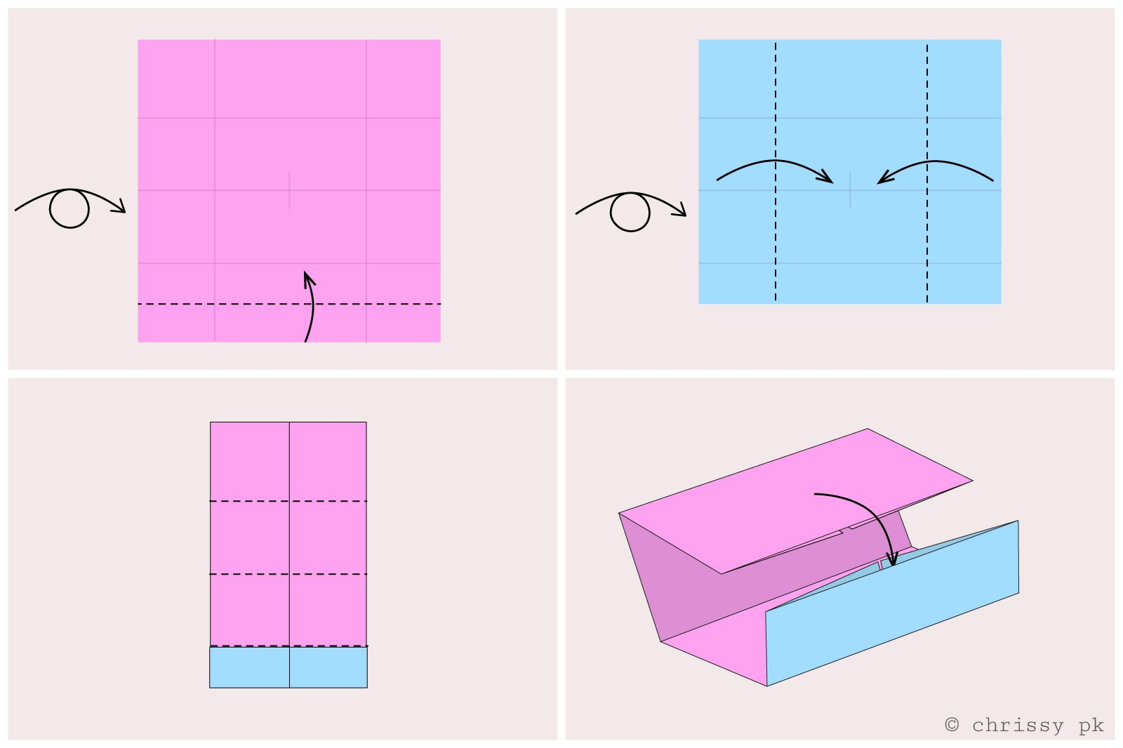 Easy origami card stand diagram - step 2