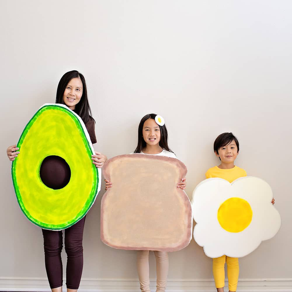 Avocado, toast, and egg costumes
