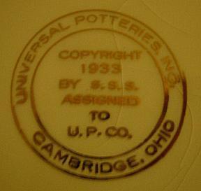 Universal Potteries, Inc. - Cambridge, Ohio Universal Potteries Mark - Ca. 1933