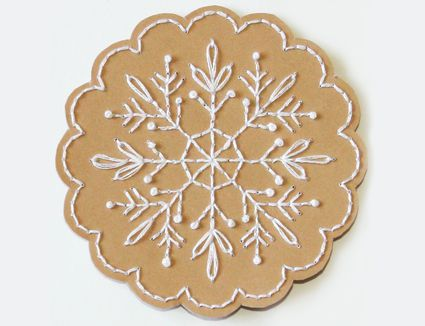 Embroidered Paper Ornament