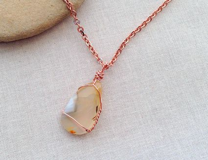 Wire-wrapped stone pendant necklace
